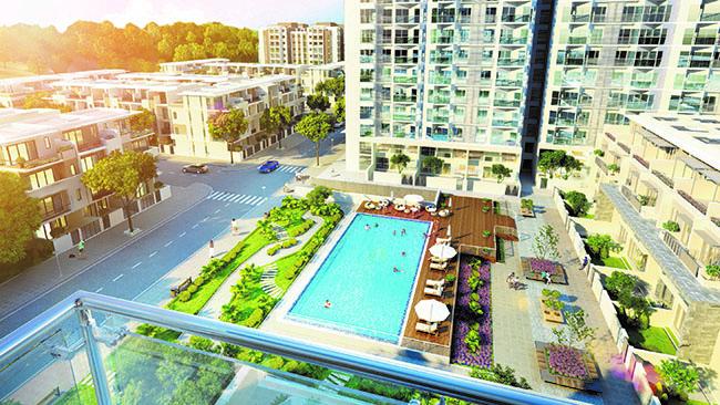 bể bơi tại dự án Green Bay Premium
