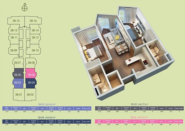 mặt bằng căn hộ tầng 2b-03 ại dự án Green Bay Premium