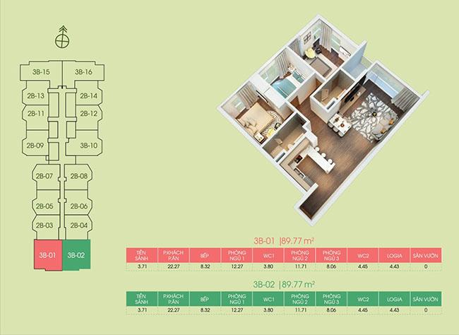 mặt bằng căn hộ 3b-01 tại dự án Green Bay Premium