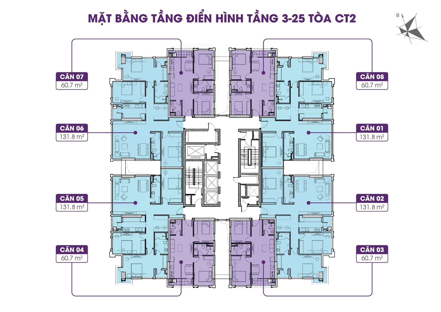 Mặt bằng điển hình tòa CT2 tầng 3 - 25 Iris Garden