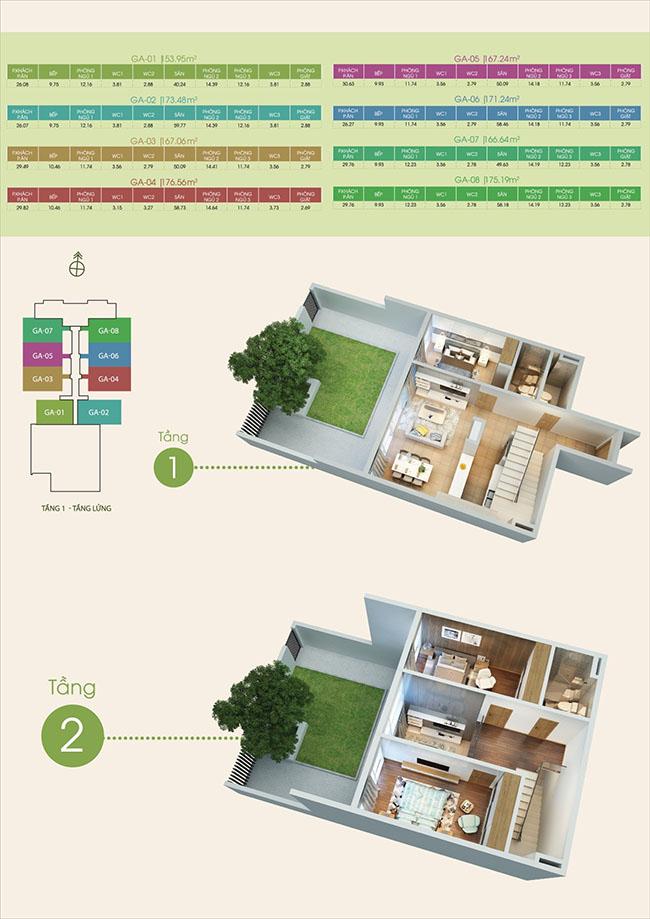 mặt bằng căn hộ tầng 1-2 tại dự án Green Bay Premium