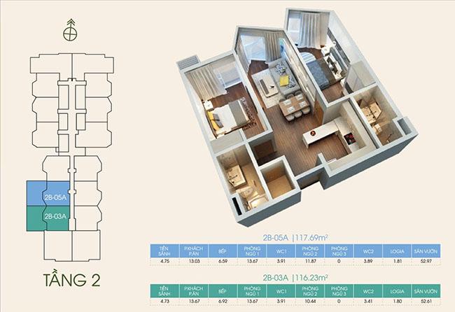 mặt bằng căn hộ tầng 2 tại dự án Green Bay Premium